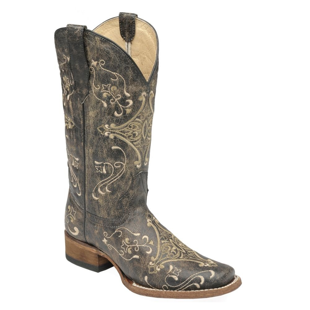 Corral Women's Circle G Crackle Scroll Bone Embroidered Square Toe Western Boot B01FQXWCMO 9.5 B(M) US|Black