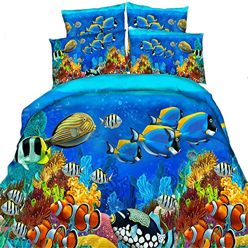 100% Cotton 3D HD Printed Comforter Bedding Sets Bed Covers Bedclothes Under the Sea Fish Blue Color 4 Pieces/Full Size ,Adults/Kids Home Textiles