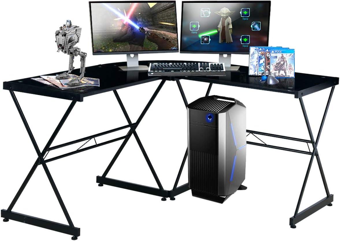 TECHNI SPORT Gaming Desk Collection Rigel Bk – L-Shaped Gaming Desk, Black – Perfect Gaming Desktop Desk