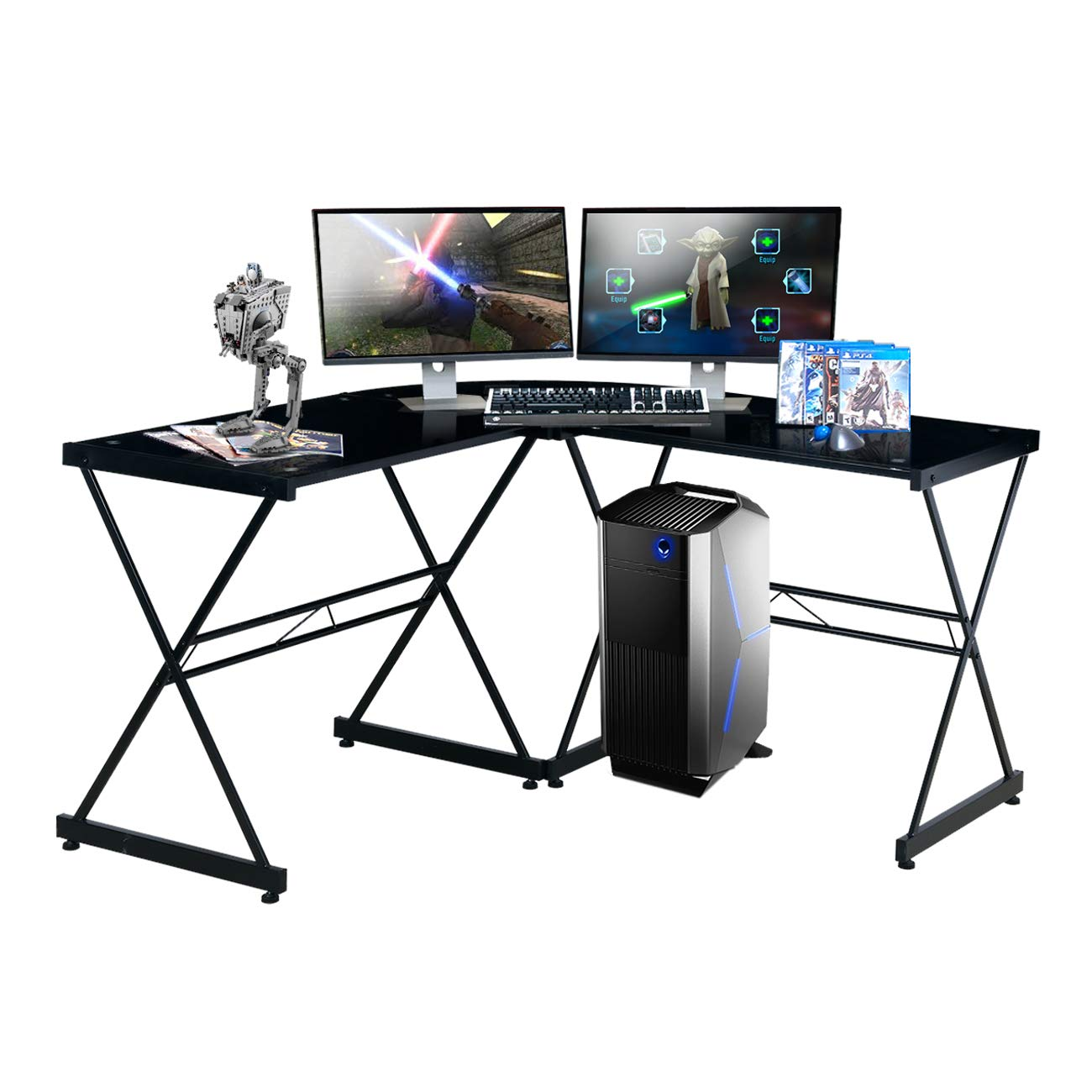 Techni sport Gaming Desk Collection Style Rigel Black - Multi-Monitor Gaming Setup - Scratch Resistant - Tempered Glass Desktop by Techni Sport