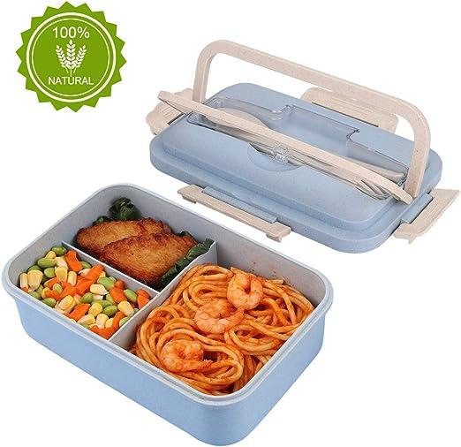 HALOVIE Fiambreras Bento Caja Almuerzo 1L con 3 Compartimentos y ...