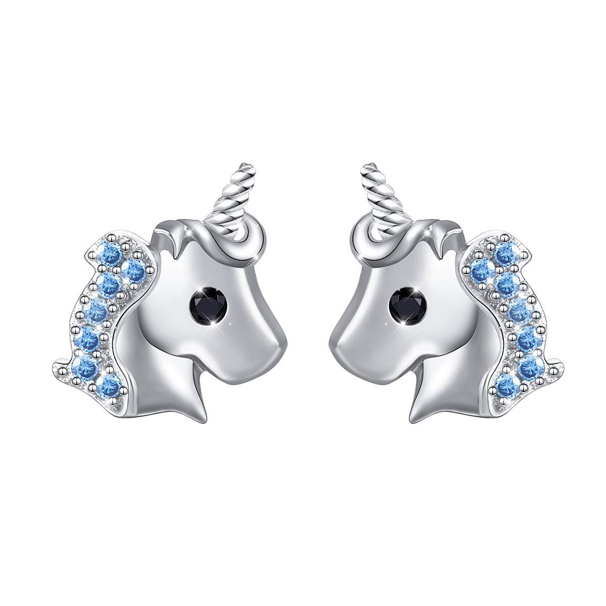 Yearace 925 Sterling Silver Hypoallergenic Cute Cz Unicorn Stud Earrings Jewelry for Women Girls (Nickel Free) LINLIN FINE JEWELRY