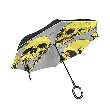MALPLENA - Paraguas invertido con Cabeza de Calavera Dorada para Mujer, Hombre, Coche,