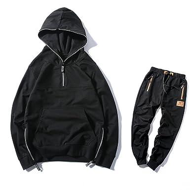 c969f24acb1 Manluo Men s Hoodies Jogging Suit Tracksuit Sports Suits Casual Lovers Set  Swearsuit Black XXS