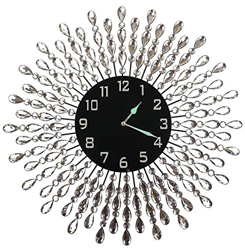 """Decorative Wall Clock Gift - LuLu Decor, 23.5"""" Crystal Drop Metal Wall Clock, Black Glass Dial 9.50"""" with Arabic Numerals, Great Clock for Living Room & Bed Room"""