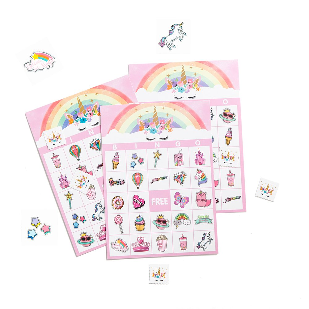 Joy day Unicorn Bingo Games Party Supplies Rainbow Birthday Cards Collection for Kids Baby Shower Decorations Pack of 24