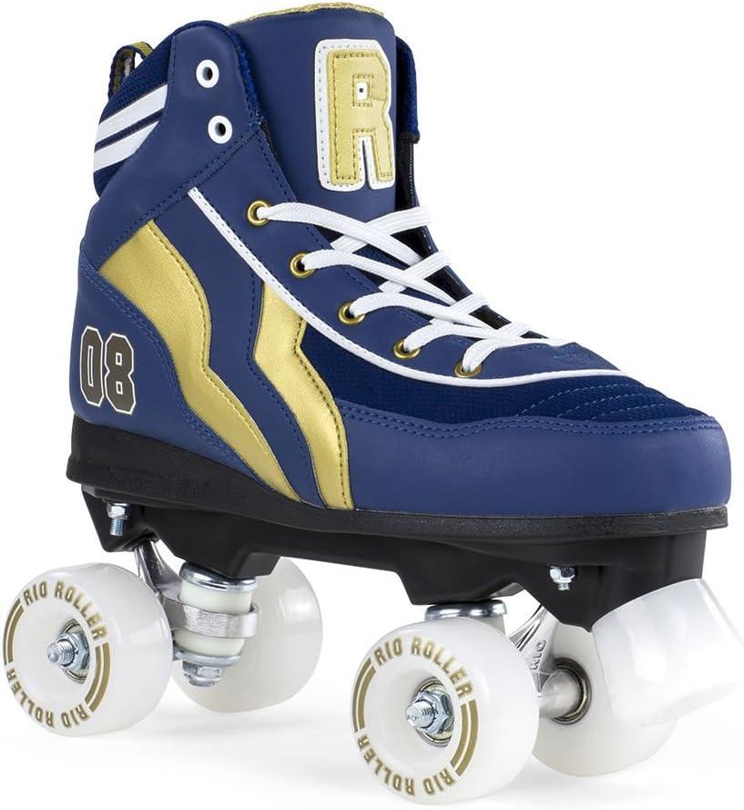 RIO ROLLER(リオローラー) クワッドスケート 2018 VARSITY 青×ゴールド ローラースケート  23cm(EU37/UK4)