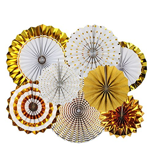 UPC 608651035763, Zilue Bright Colorful Hanging Paper Fans Set Round Pattern Paper Garlands Decoration for Party Birthday Events Accessories Gold B