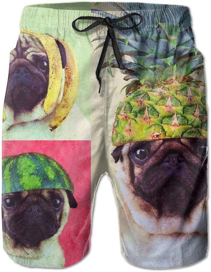 Pineapple Watermelon Banana Pug Men er Beach Boardshorts