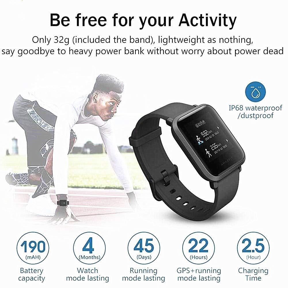 EdwayBuy Smartwatch, Amazfit Bip Relojes Deportivos con GPS Bluetooth IP68 a Prueba de Agua Pantalla Táctil Monitor de Frecuencia Cardíaca 45 Días ...