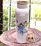 Prisha India Craft Digital Printed Pure Copper Water Bottle Kids School Water Bottle - Oggy Design, 1000 ML