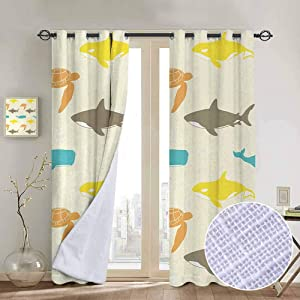 Thermal Curtain Panels Sea Animals,Pattern with Whale,Shark and Turtle Aquarium Doodle Style Marine Life,Ivory Taupe Peach Window Curtains for Living Room 84 x L84 Inch