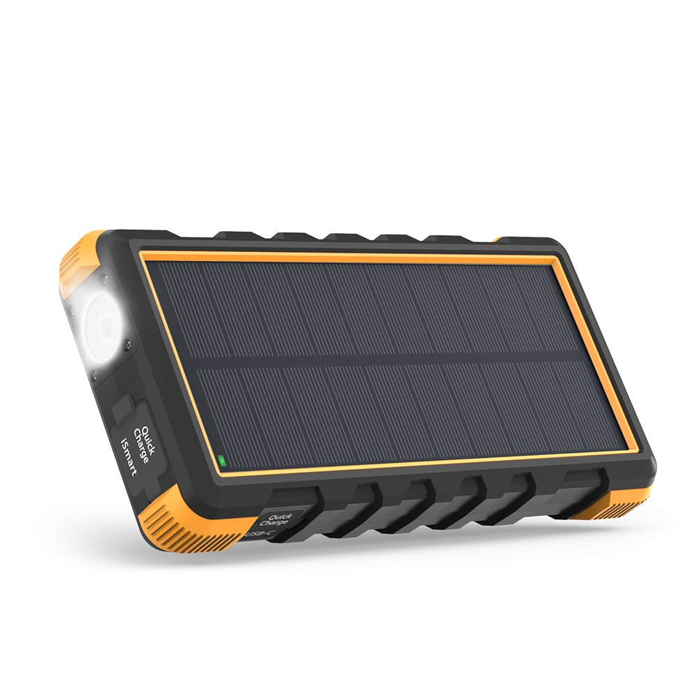 Solar Power Bank, RAVPower 25000mAh Outdoor Solar Phone Charger with 3 USB Ports, External Battery Pack with Micro USB & USB C Inputs, Portable Charger with Flashlight - Shock, Dust & Waterproof by RAVPower
