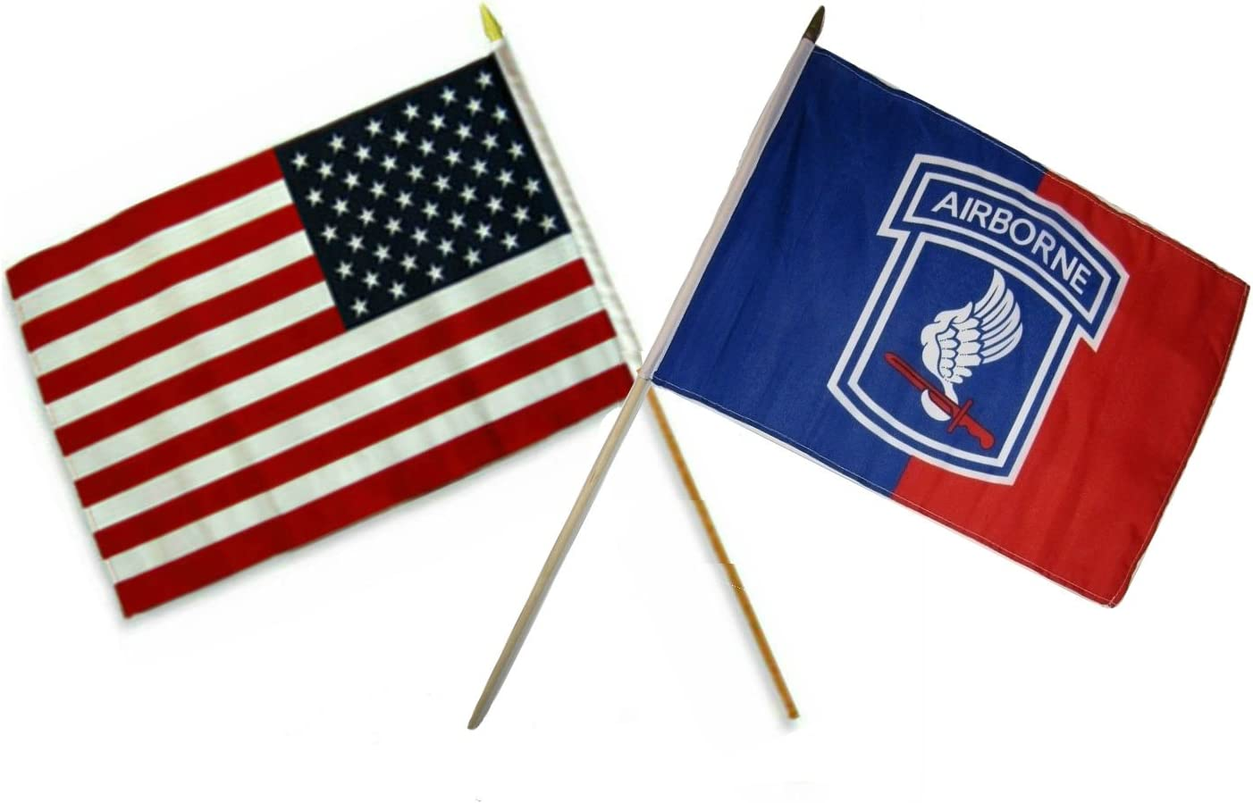 """12x18 12/""""x18/"""" Wholesale Combo USA American /& Airborne 173rd Red Blue Stick Flag"""