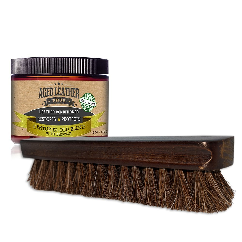 Aged Leather Pros Leather & Textile Cleaning Brush & Leather Conditioner | COMBO PACK