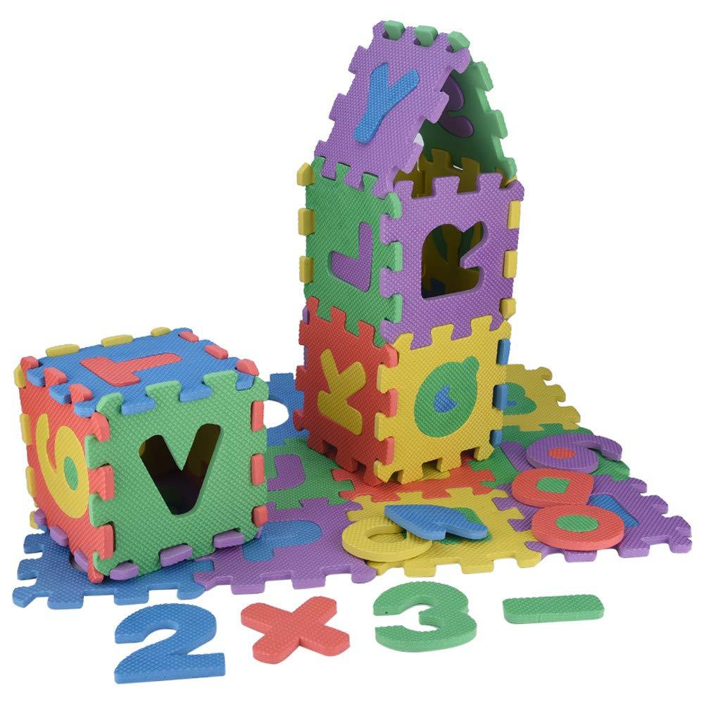 幼児用 36ピース アルファベットと数字 フォーム パズル プレイマット デジタル アルファベット フロア バブルパズル 教育 学習 おもちゃ   B07S9YPFM4