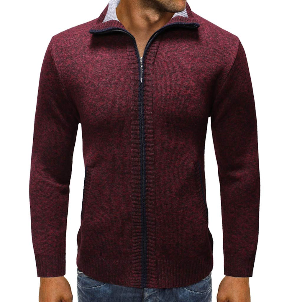 Beppter Men's Casual Slim Full Zip Cardigan Sweaters Relaxed Fit Jacket with Pockets(Wine Red,US Size L = Tag XL) by Beppter