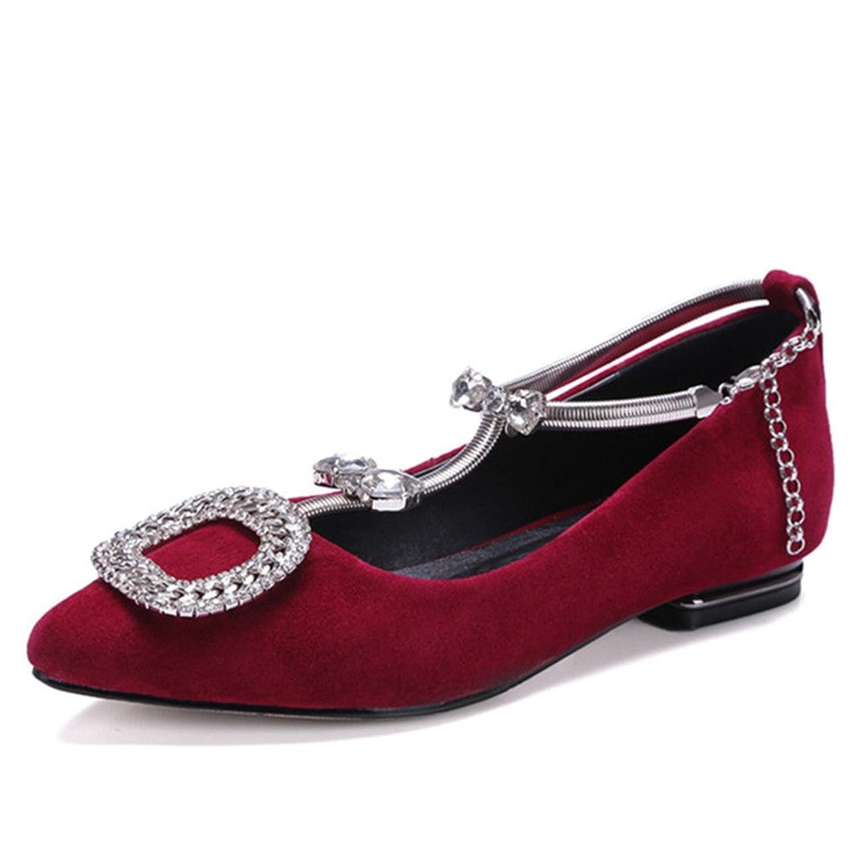 Nine Seven Genuine Leather Women's Pointy Toe Flat Heel Rhinestones Bowknot T-strap Handmade Flat Shoes