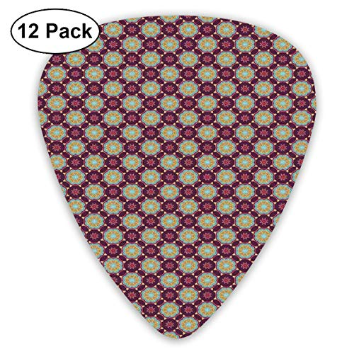 - Guitar Picks 12-Pack,Hand Drawn Flourishing Nature Illustration With Petals And Dots Geometric Figures