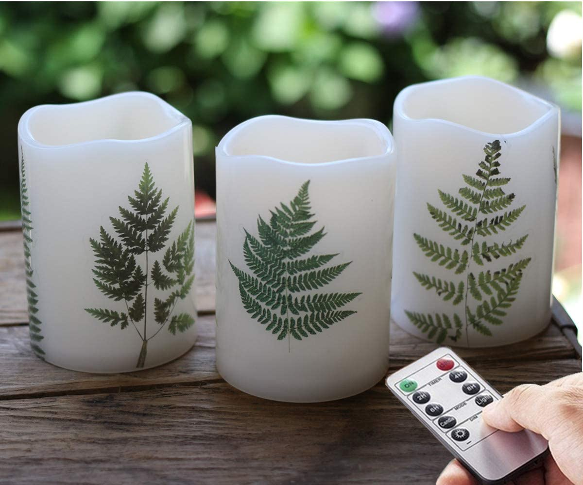 Set of 3 Outdoor Green Fern Leaf LED Flameless Battery Pillar Candles with Remote and Timer, Plastic, Won t Melt, 3 x 4 , Timer 24hours