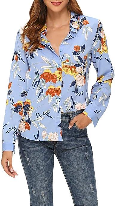 TOPKEAL 2019 Moda Camisa de Gasa con Estampado de Plantas de Manga Larga Oficina para Mujer Madura de Verano y Otoño: Amazon.es: Ropa y accesorios