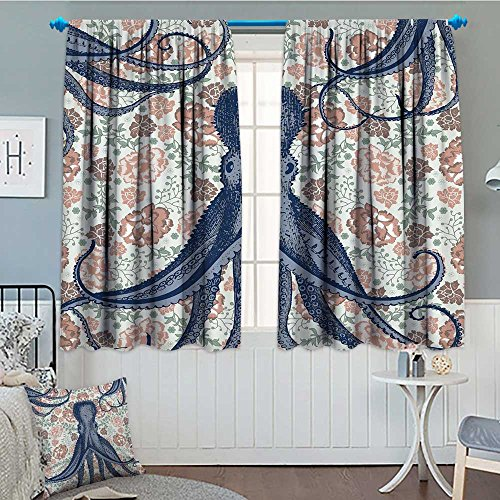 Kraken Personalized Octopus with Tentacles Floral Design and Flower Print Decorations Multicolor Decorations Patterned Drape For Glass Door Blue Beige Coral Mint Green Waterproof Window Curtain 52
