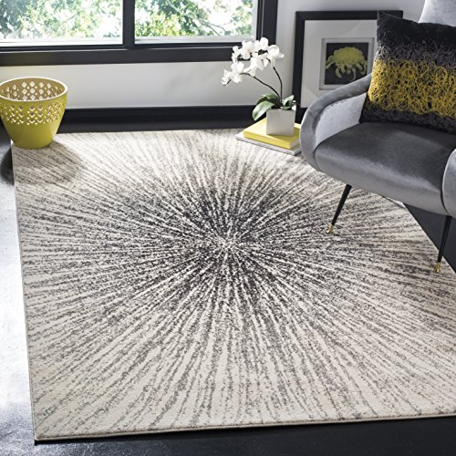 "Safavieh Evoke Collection EVK228K Contemporary Burst Black and Ivory Square Area Rug (6'7"" Square)"