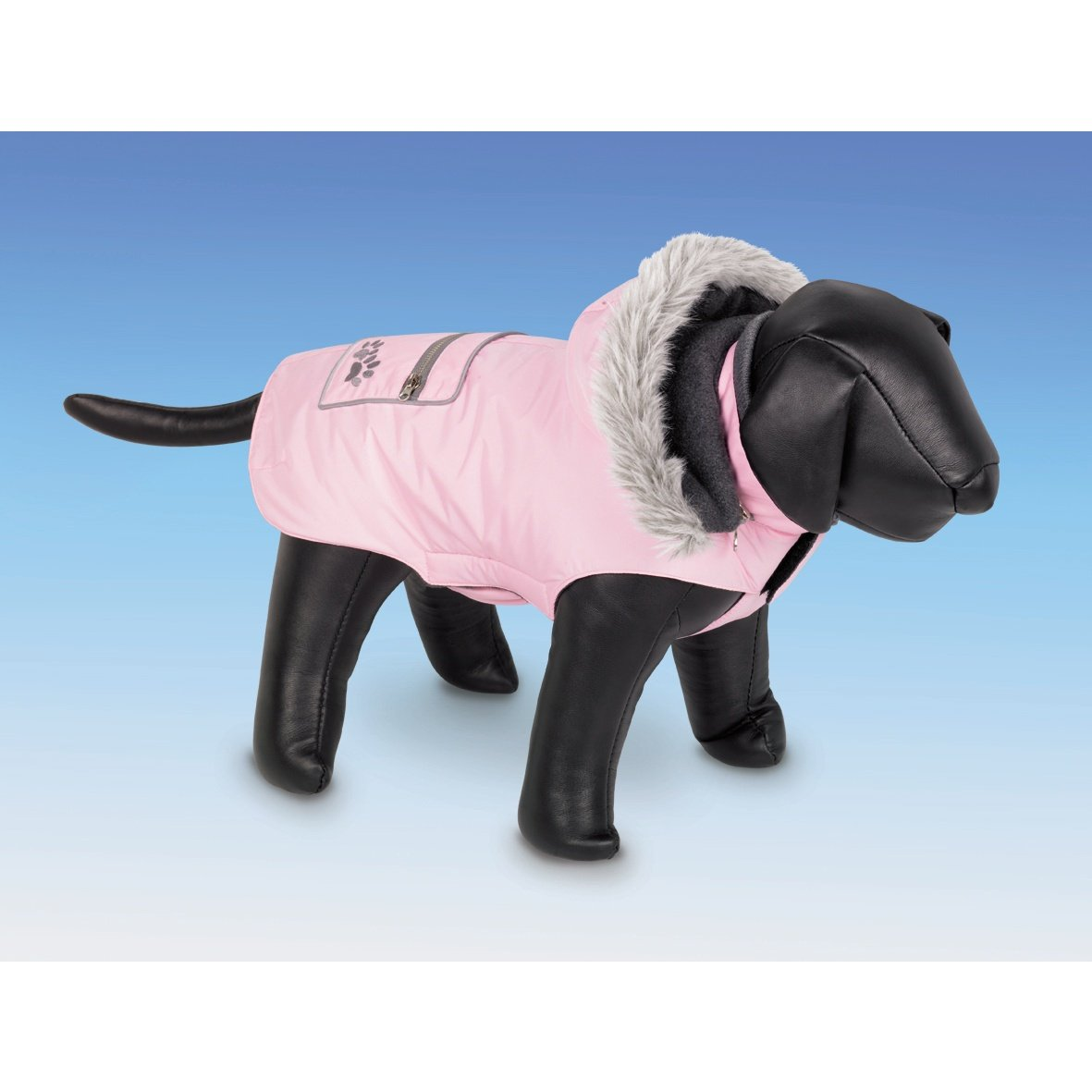 Pink 10in Pink 10in Nobby Iffy Fleece Lined Hooded Dog Coat (10in) (Pink)