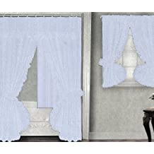 White Fabric Double Swag Shower Curtain with Matching Window Curtain and Vinyl Liner