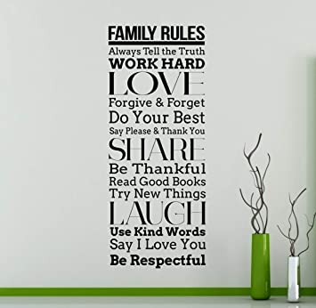 Amazon Com Family Rules Wall Decal Vinyl Sticker Motivational Quotes Home Art Decor 30 Nwg Home Improvement