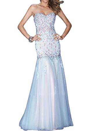 Winnie Bride Gorgeous Rhinestones Prom Ball Dress for Wedding Long Evening Gown-10-Light Blue