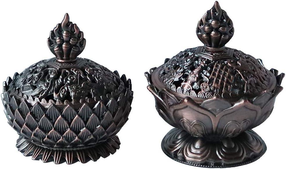 OWXINI Lotus Incense Burner Set Flower Chinese Alloy Metal Incense Holder Handmade Censer Bowl Home Decoration Decor Gift Set 2Pcs (Copper)