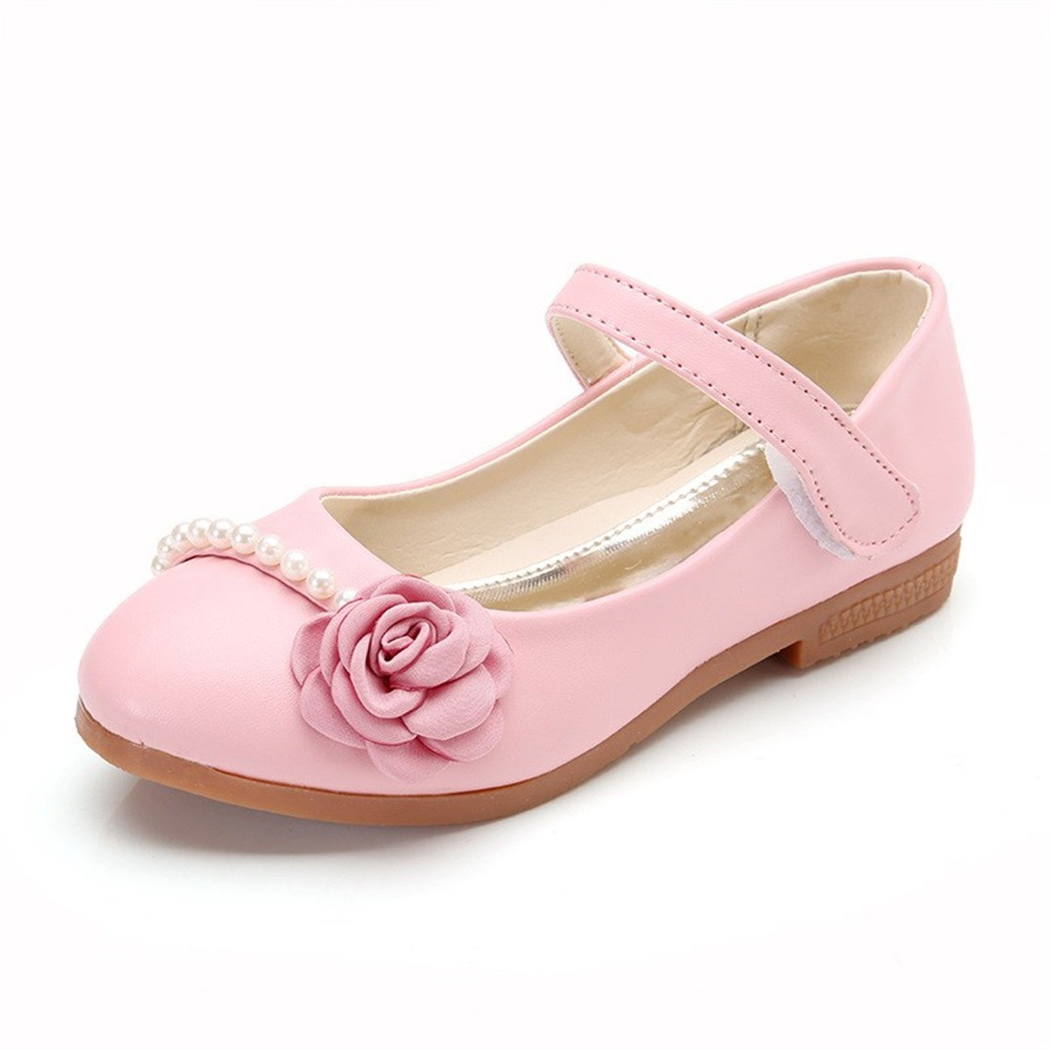 Perfues Girls Pu Leather Shoes Kids Spring Autumn Party Stage Fancy Dance Shoes Flower Flats Mocassins
