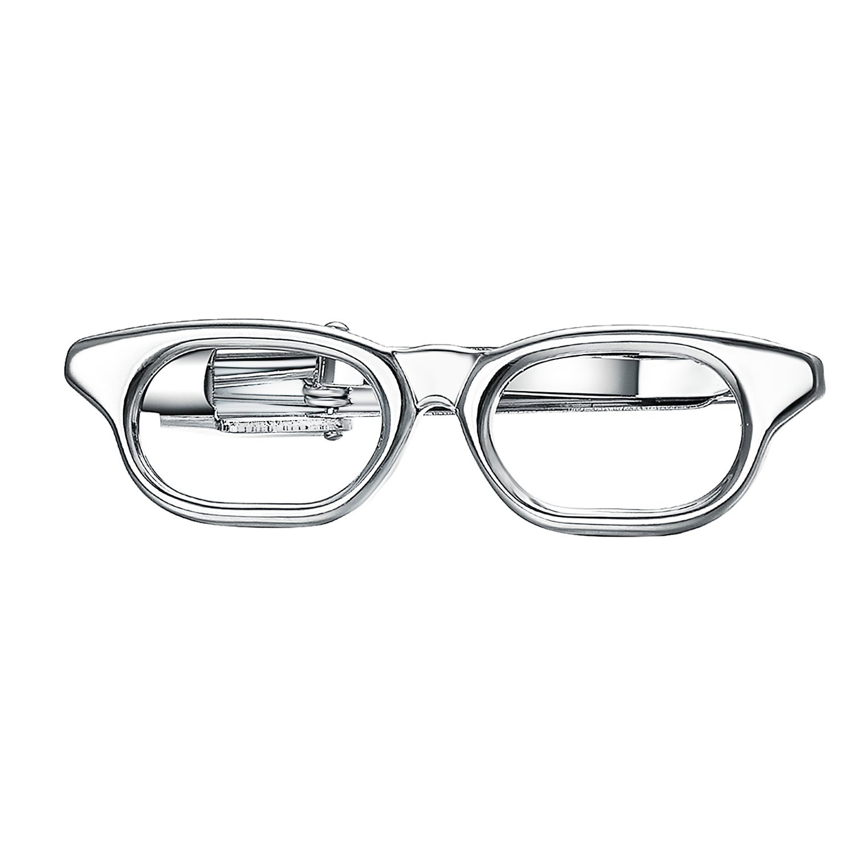 Yoursfs Simple Eyeglass Style Necktie Tie Clasp Clip Gentleman Metal Silver for Men Friend Gift