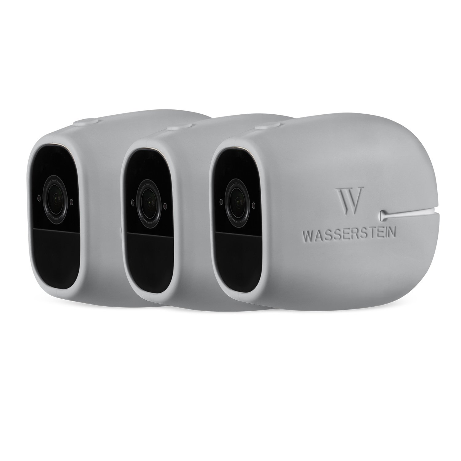 3 x Silicone Skins Compatible With Arlo Pro & Arlo Pro 2 Smart Security - 100% Wire-Free Cameras - by Wasserstein (3 Pack, Grey) by Wasserstein