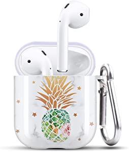HIDAHE Cute Airpod 2 Case Women, Airpods Skin, Apple Airpod Case, Funny Star Design Protective Airpods 2 Case for Girls with Keychain Compatible with Apple AirPods 1/2, Green Pineapple