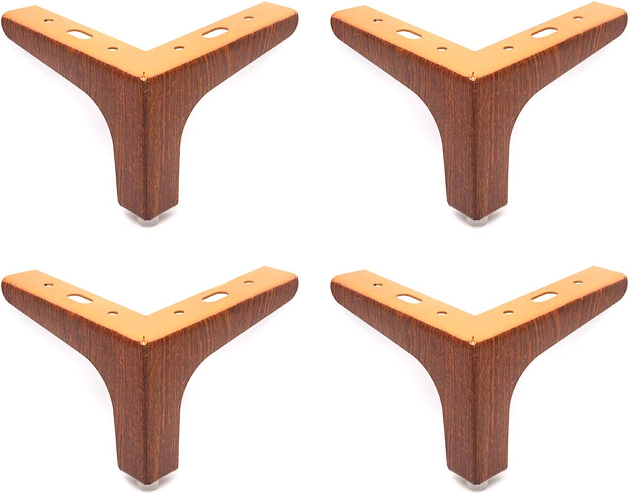 """Tulead Iron Triangle Furniture Legs Couch Legs Heavy Duty Wood Grain Brown Sofa Feet 4"""" Height Pack of 4 with Mounting Screws"""