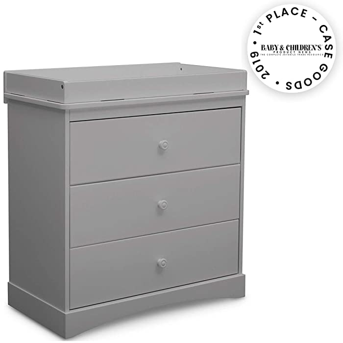 Delta Children Sutton 3 Drawer Dresser with Changing Top, Grey
