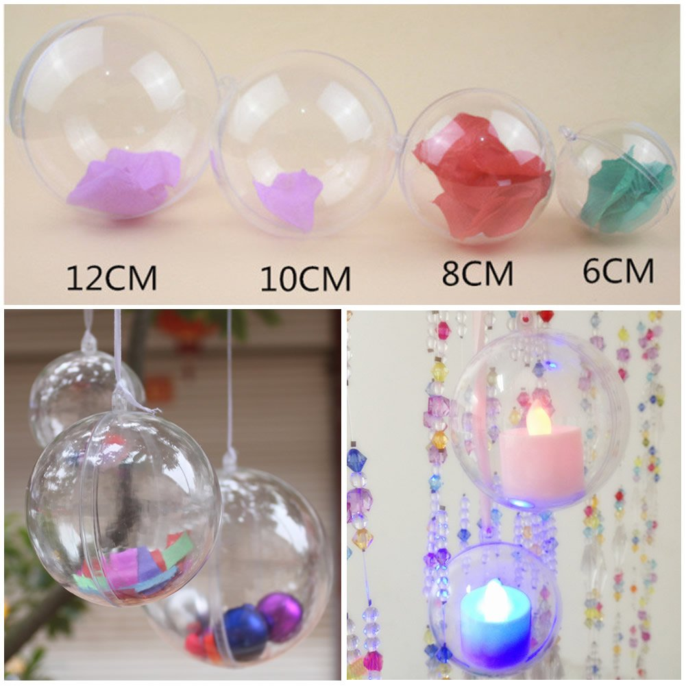 Amazon: Chunlin Plastic Round Ball Christmas Clear Bauble Ornament Gift  Present Xmas Tree Craft (12cm): Home & Kitchen