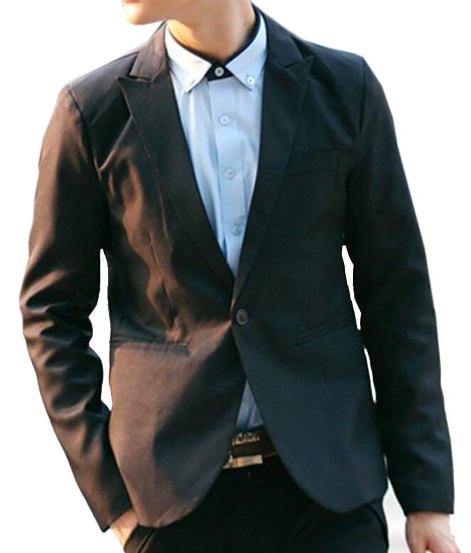 BYWX-Men Solid Color Slim Fit One Button Casual Blazer Jacket Outerwear Black US XS
