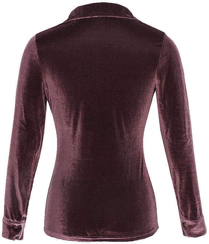 Womens Button Down Shirts Tunic Tops Long//Short Sleeves Velvet Collar T-Shirts BlouseTops