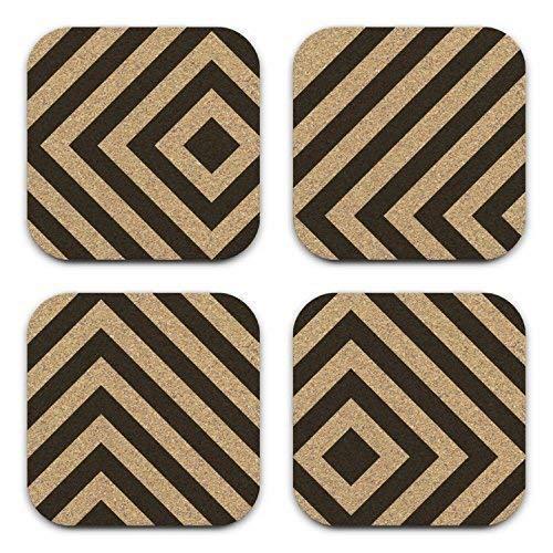 Mod Abstract Box Chevron Cork Coaster Gift Set Of 4 Office Decor