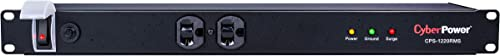 CyberPower CPS1220RMS Surge Protector, 120V 20A, 12 Outlets, 15ft Power Cord, 1U Rackmount