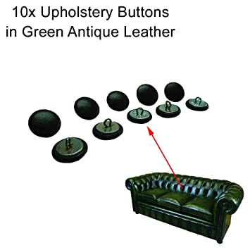 10 x 20 mm grün Leder Chesterfield Knöpfe mit Draht Rücken für ...