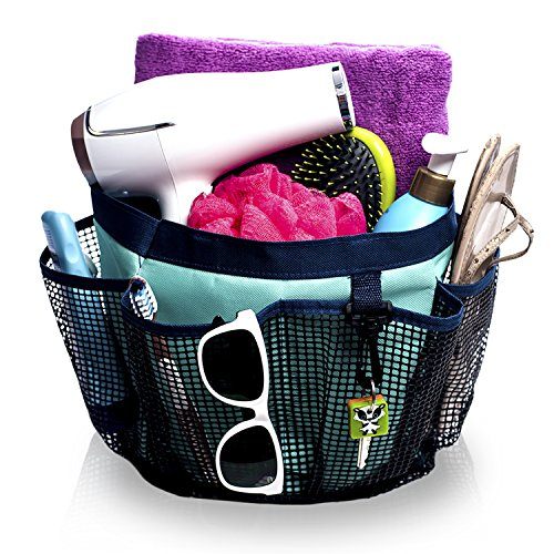 Fancii Portable Mesh Shower Caddy Tote for College Dorm, Quick Dry, 7 Large Storage Pockets & Key Hook - Hanging Bath & Toiletry Organizer Bag, Travel, Gym & Camping by Fancii