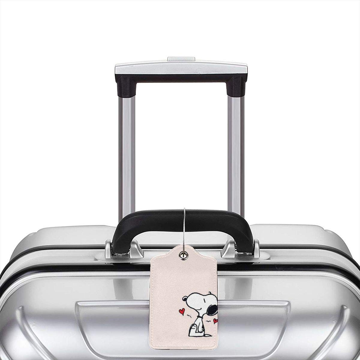 Fashion Lovely Snoopy Art Print Soft Leather Luggage Tags With Privacy Cover 1-4 Pcs Choose Suit For Travel,Vacation