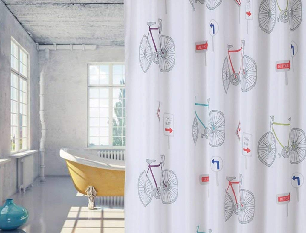 JaHGDU Shower Curtain Waterproof Mildew-reducing Polyester Shower Curtain Cloth Cartoon Bathroom Thicken Toilet Intersection Curtain Bicycle Pattern (Color : 180 wide180cm high+Ring)