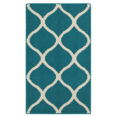 Maples Rugs Rebecca 1'8 x 2'10 Non Skid Small Accent Throw Rugs [Made in USA] for Entryway and Bedroom, Teal/Sand (Kitchen Turquoise Rugs)