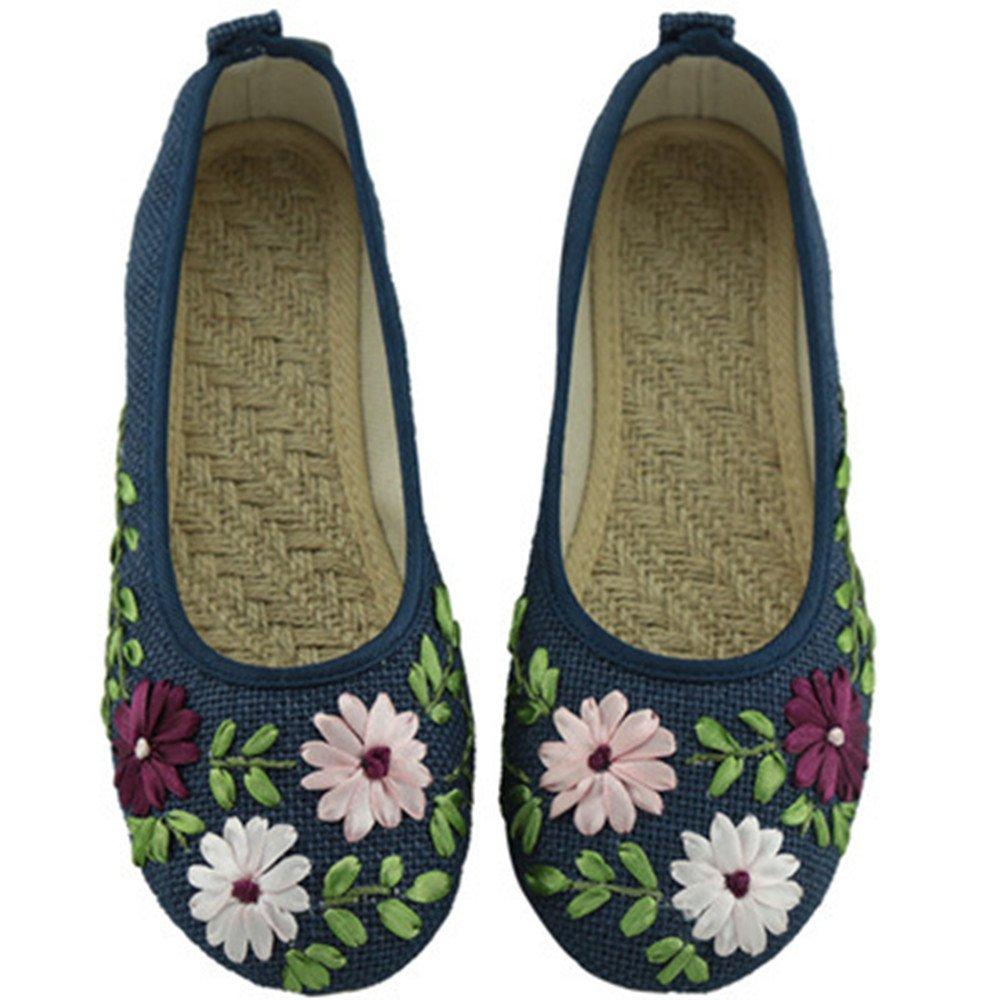 Beyond/_AV/® Women Linen Ballet Pumps Slippers Embroider Loafer Flat Shoes