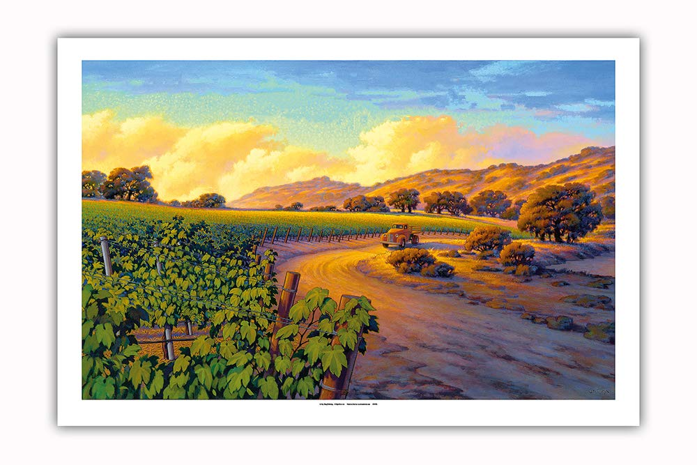 Pacifica Island Art - Vineyard Sunset - Wine Country Art by Kerne Erickson - Premium 290gsm Giclée Art Print 24in x 36in